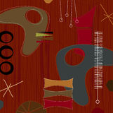Retro Barkcloth Weave (Vector). Retro barkcloth fabric-inspired design with shapes and boomerangs. Each item is grouped so you can use them independently from Stock Photography