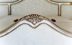 Retro baroque bedroom interiors stock photo