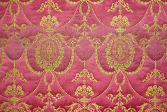 Retro baroque tapestry. Red vintage tapestry, textured wallpaper, renaissance style stock photo