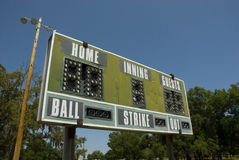 Retro Baseball Scoreboard. An old retro baseball scoreboard Royalty Free Stock Images