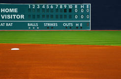 Retro baseball scoreboard. With field in foreground Stock Photos