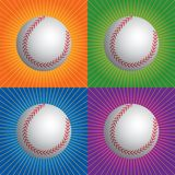 Retro baseballs. Baseballs with four different retro backgrounds Stock Photo