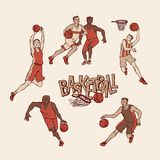 Retro basketball players in sports uniform. Vintage sportsmans motion with ball in different poses and race. Vector. Outline illustration imitation print and vector illustration