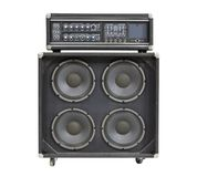 Retro Bass Amplifier Isolated. Retro vintage bass amplifier isolated on white royalty free stock photography