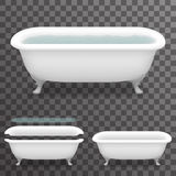 Retro Bath with Water Realistic 3d Parallax Bathtub Transparent Template Background Mock Up Design Vector Illustration Royalty Free Stock Image