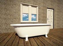 Retro bathroom. With plank wood floor Stock Images