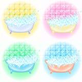 Retro Bathroom interior. soap bubbles. Bathtub with foam bubbles inside. Bath time vintage style cartoon illustration. Retro Bathroom interior. soap bubbles royalty free illustration