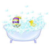 Retro Bathroom interior. soap bubbles. Bathtub with foam bubbles inside and bath yellow rubber duck and boat ion wall Royalty Free Stock Photos