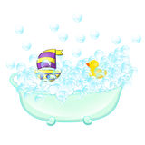 Retro Bathroom interior. soap bubbles. Bathtub with foam bubbles inside and bath yellow rubber duck and boat ion wall Royalty Free Stock Images