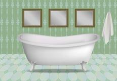 Retro bathtub concept background, realistic style stock illustration