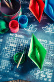 Retro battleship paper game prepared to a battle Royalty Free Stock Images
