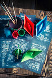 Retro battleship paper game for two players Stock Photography