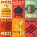 Retro BBQ-affischsamling stock illustrationer