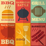 Retro BBQ posters collection. Retro Barbecue Posters Collection in Flat Design Style. Illustration stock illustration