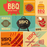 Retro BBQ posters collection Stock Images