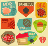 Retro BBQ stickers collection. Retro Barbecue  Stickers Collection in Flat Design Style. Layered file. Vector Illustration Royalty Free Stock Photography
