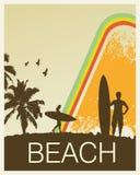 Retro Beach. Retro Rainbow Beach Vector illustration Royalty Free Stock Photography