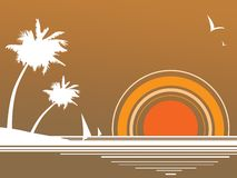 Retro beach. Sunny beach tan retro summer background Royalty Free Stock Photos