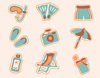 Retro beach icons set 1 Royalty Free Stock Photo