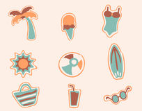 Retro beach icons set 2 Royalty Free Stock Photography