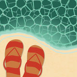 Retro beach illustration Stock Photos