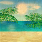 Retro beach illustration Royalty Free Stock Photo