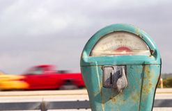 Retro beach meter and truck Royalty Free Stock Photography