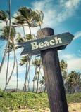 Retro Beach Sign In Hawaii Stock Photo