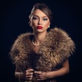 Retro. Beautiful, attractive woman wearing fur Stock Image