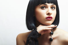 Retro Beautiful Brunette Girl. Healthy Black Hair.bob Haircut Royalty Free Stock Photo