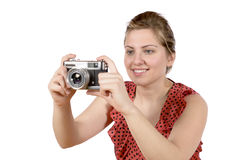 Retro pretty woman photographer Royalty Free Stock Photo