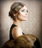 Retro Beauty. Retro Woman Portrait.Vintage Styled Royalty Free Stock Photo