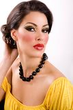 Retro beauty. Portrait of a beautiful woman, pin up 1950s style royalty free stock photography