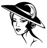 Retro beauty vector. Beautiful woman wearing vintage hat - black and white illustration Royalty Free Stock Photos