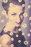 Retro beauty looking through the tulle Royalty Free Stock Image
