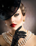Retro Beauty Portrait. Vintage Styled. Beautiful Young Woman stock photo
