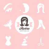 Retro beauty salon icons Stock Images