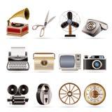 Retro bedrijfs en bureauobjecten pictogrammen Stock Fotografie