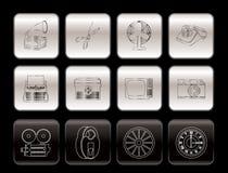 Retro bedrijfs en bureauobjecten pictogrammen Royalty-vrije Stock Foto's