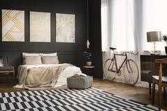 Retro bedroom with bike royalty free stock photos