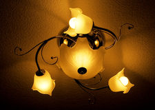 Retro bedroom lamp. Old chandelier royalty free stock photography