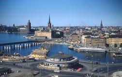 Retro Beeld van 1950 ` s van de Stad van Stockholm, Zweden Royalty-vrije Stock Afbeeldingen
