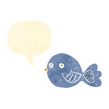 retro beeldverhaal blauwe vogel Stock Afbeelding