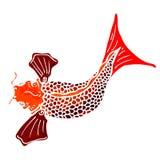 retro beeldverhaal Japanse vissen Stock Afbeeldingen