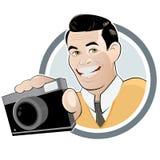Retro beeldverhaalmens met camera Stock Fotografie