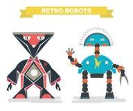 Retro beeldverhaalrobots Uitstekende die robots op wit worden geïsoleerd vector illustratie