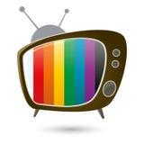 Retro beeldverhaaltelevisie Stock Foto