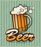 Retro beer. Retro banner with a beer Royalty Free Stock Photos