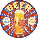 Retro beer advertising enamel sign Royalty Free Stock Image