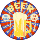 Retro beer advertising enamel sign, vector Royalty Free Stock Image
